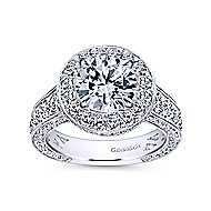 Antonia 18k White Gold Round Halo Engagement Ring angle 5