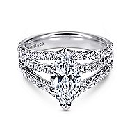 Aquila 14k White Gold Marquise  Split Shank Engagement Ring angle 1