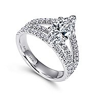 Aquila 14k White Gold Marquise  Split Shank Engagement Ring angle 3