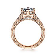 Arabella 14k Rose Gold Round Straight Engagement Ring angle 2