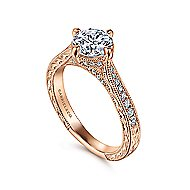 Arabella 14k Rose Gold Round Straight Engagement Ring angle 3
