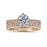Arabella 14k Rose Gold Round Straight Engagement Ring angle 4