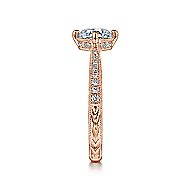 Arabella 14k Rose Gold Round Straight Engagement Ring angle 5