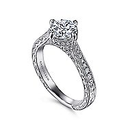Arabella 14k White Gold Round Straight Engagement Ring angle 3