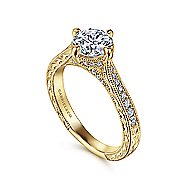 Arabella 14k Yellow Gold Round Straight Engagement Ring angle 3