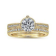 Arabella 14k Yellow Gold Round Straight Engagement Ring angle 4