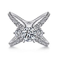 Aria 14k White Gold Round 3 Stones Engagement Ring angle 1