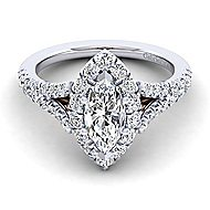 Ariana 14k White And Rose Gold Marquise  Halo Engagement Ring angle 1