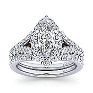 Ariana 14k White And Rose Gold Marquise  Halo Engagement Ring angle 4