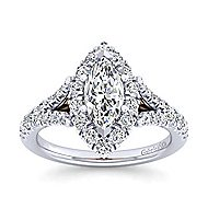 Ariana 14k White And Rose Gold Marquise  Halo Engagement Ring angle 5