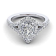 Ariana 14k White And Rose Gold Pear Shape Halo Engagement Ring angle 1