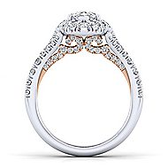 Ariana 14k White And Rose Gold Pear Shape Halo Engagement Ring angle 2