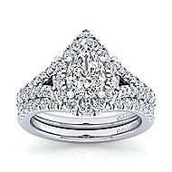 Ariana 14k White And Rose Gold Pear Shape Halo Engagement Ring angle 4