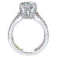 Ariel 18k White And Rose Gold Round Twisted Engagement Ring angle 2