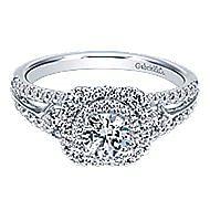 Arletta 14k White Gold Round Double Halo Engagement Ring angle 1