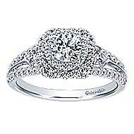 Arletta 14k White Gold Round Double Halo Engagement Ring angle 5