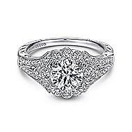 Armada Platinum Round Halo Engagement Ring