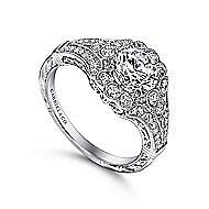 Armada Platinum Round Halo Engagement Ring angle 3
