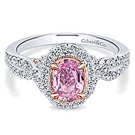 Armelle 14k White And Rose Gold Oval Halo Engagement Ring