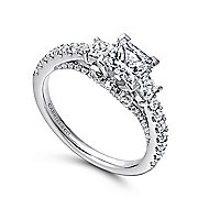 Arnica 14k White Gold Princess Cut 3 Stones Engagement Ring
