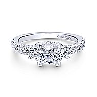 Arnica 18k White Gold Princess Cut 3 Stones Engagement Ring angle 1