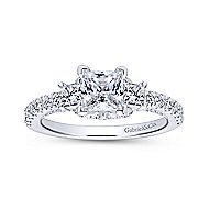 Arnica 18k White Gold Princess Cut 3 Stones Engagement Ring angle 5