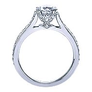 Aroma 18k White Gold Round Straight Engagement Ring angle 2