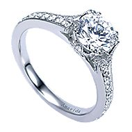 Aroma 18k White Gold Round Straight Engagement Ring angle 3