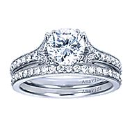Aroma 18k White Gold Round Straight Engagement Ring angle 4