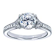 Aroma 18k White Gold Round Straight Engagement Ring angle 5