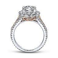 Aruba 18k White And Rose Gold Round Halo Engagement Ring angle 2