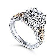 Aruba 18k White And Rose Gold Round Halo Engagement Ring angle 3