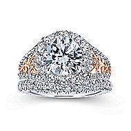 Aruba 18k White And Rose Gold Round Halo Engagement Ring angle 4