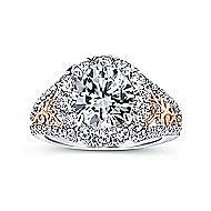Aruba 18k White And Rose Gold Round Halo Engagement Ring angle 5
