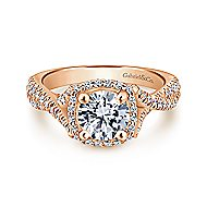 Aster 14k Rose Gold Round Halo Engagement Ring angle 1