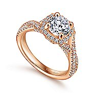 Aster 14k Rose Gold Round Halo Engagement Ring angle 3