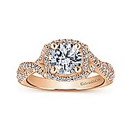 Aster 14k Rose Gold Round Halo Engagement Ring angle 5