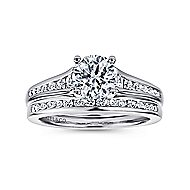Aubrey 14k White Gold Round Straight Engagement Ring angle 4