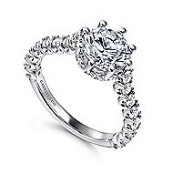 Augusta 14k White Gold Round Straight Engagement Ring angle 3