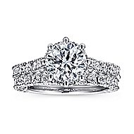 Augusta 14k White Gold Round Straight Engagement Ring angle 4