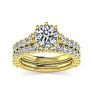 Augusta 14k Yellow Gold Round Straight Engagement Ring angle 4
