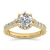 Augusta 14k Yellow Gold Round Straight Engagement Ring angle 5