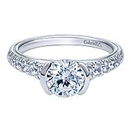 Aura 14k White Gold Round Straight Engagement Ring angle 1