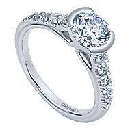 Aura 14k White Gold Round Straight Engagement Ring angle 3
