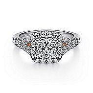 Aurelia 14k White And Rose Gold Princess Cut Halo Engagement Ring angle 1