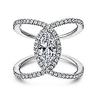 Aurora 14k White Gold Marquise  Halo Engagement Ring angle 1