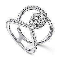 Aurora 14k White Gold Marquise  Halo Engagement Ring angle 3