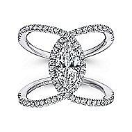 Aurora 14k White Gold Marquise  Halo Engagement Ring