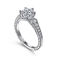 Ava 14k White Gold Round Straight Engagement Ring angle 3