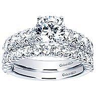 Aveline 14k White Gold Round Straight Engagement Ring angle 4